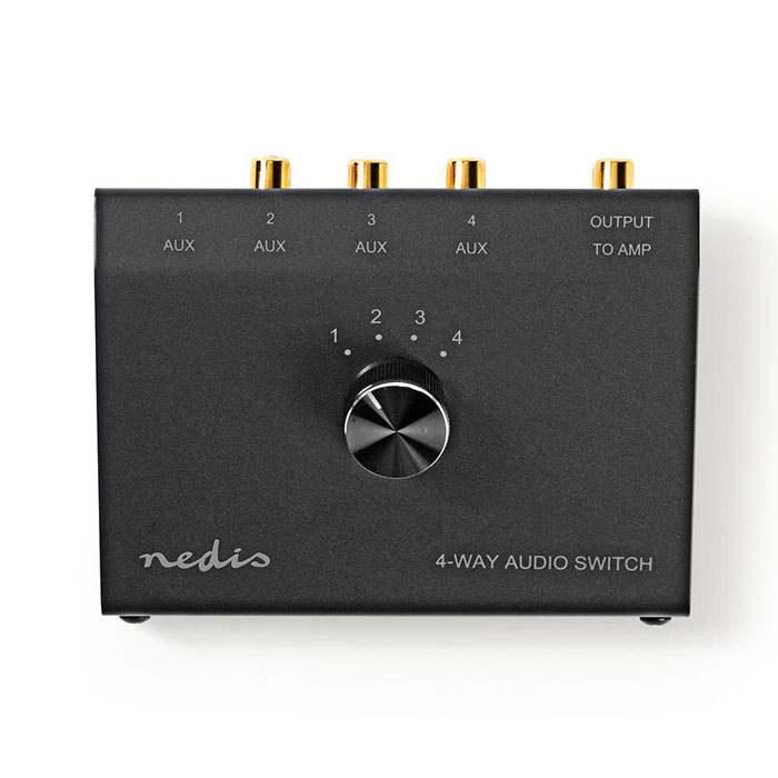 NEDIS ASWI2404BK Analogue Audio Switch 3.5 mm Female + 3x (2x RCA Female) - 2x R (Επιλογέας 4 συσκευών ήχου σε μία μόνο (A...)