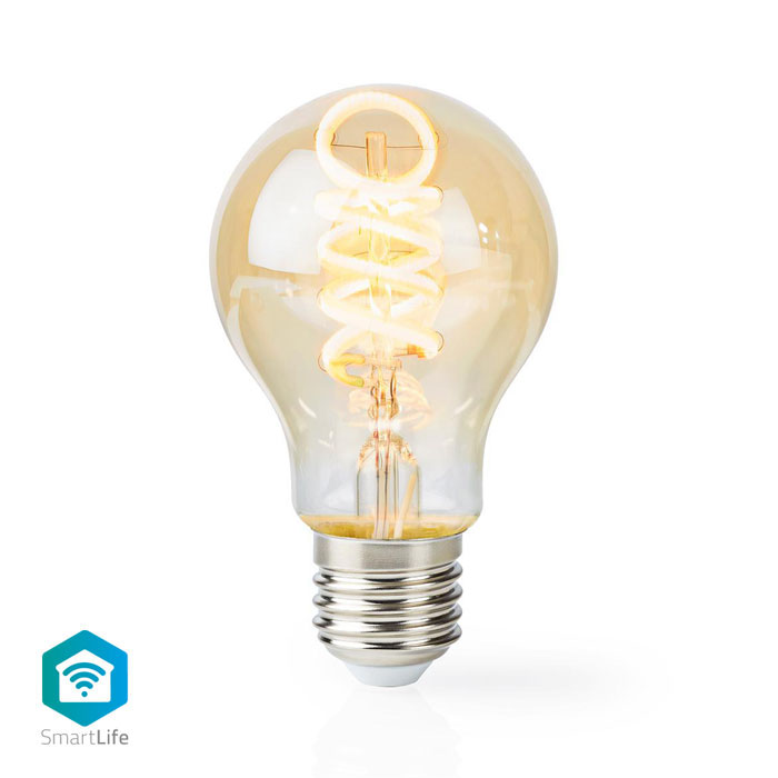 NEDIS WIFILT10GDA60 Wi-Fi Warm to Cool White LED Filament Bulb Twisted E27 A60 5 (Wi-Fi έξυπνη λάμπα Filament Retro LED, E...)