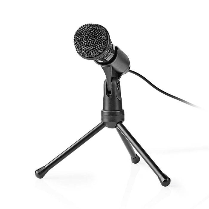 NEDIS MICTJ100BK Wired Microphone On/Off Button With Tripod 3.5 mm (Ενσύρματο μικρόφωνο με τρίποδα και καλώδ...)