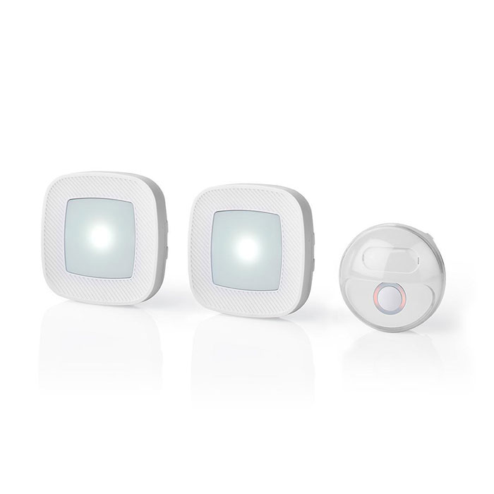 NEDIS DOORB220CWT2 Wireless Doorbell Set | Mains Powered 36 Melodies Bright flas (Ασύρματο σετ κουδουνιού με 2 δέκτες και ...)